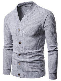 Sólido Botón De Bolsillo Hasta Suéter Fino - Gris Claro M