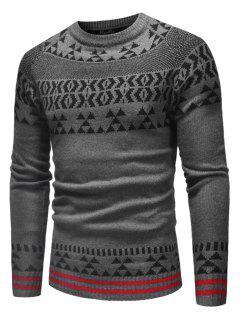 Suéter De Punto De Patrón Geométrico - Gris Xs