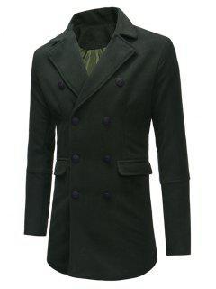 Double Breasted Back Split Woolen Coat - Army Green S
