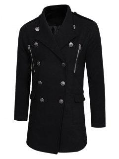 Double Breasted Trench Woolen Coat - Black L