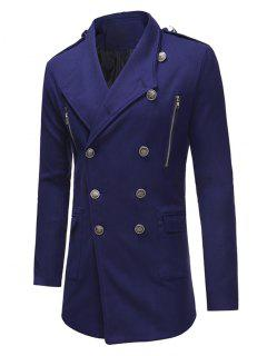 Double Breasted Trench Woolen Coat - Blue L
