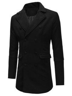 Double Breasted Back Split Woolen Coat - Black Xs