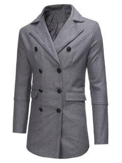 Manteau En Laine Fendu Au Dos Et à Double Boutonnage  - Gris Xs