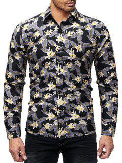 Chemise à Imprimé Fleurs Et Feuilles  - Jaune L