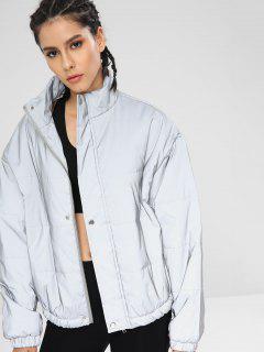 Reflective Silver Puffer Zip Jacket - Platinum M