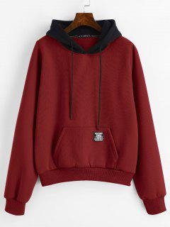 ZAFUL Pouch Pocket Fleece Pullover Sweat à Capuche - Rouge Vineux L