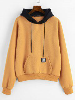 ZAFUL Pouch Pocket Fleece Pullover Hoodie - Bee Yellow S