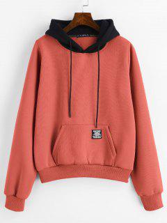 ZAFUL Pouch Pocket Fleece-Kapuzenjacke - Sonneaufgang Orange L