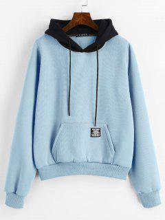 ZAFUL Pouch Pocket Fleece Pullover Sweat à Capuche - Bleu De Denim M