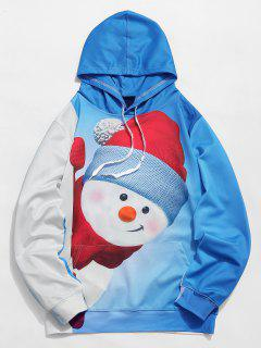 Kangaroo Pocket Snowman 3D Print Christmas Hoodie - Crystal Blue 3xl