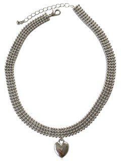 Metal Heart Shape Chocker Necklace - Silver