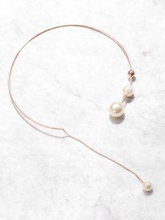 Multiple Artificial Pearl Design Necklace - White