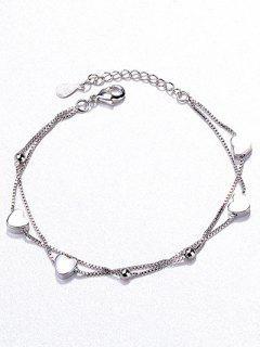 Beaded Heart Shape Bracelet - Silver