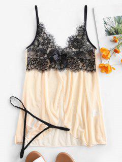 Lace Insert Front Slit Lingerie Dress - Multi-a M