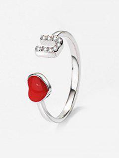 Rhinestoned Love U Printed Ring - Red