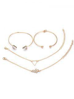 4Pcs Geometric Triangle Design Hollow Bracelets Set - Gold