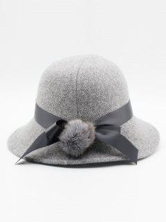 Cute Bowknot Embellished Wool Buckle Hat - Light Gray