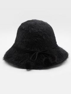 Stylish Bowknot Fuzzy Balls Buckle Hat - Black