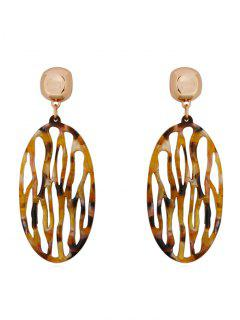 Vintage Round Shape Hollow Out Earrings - Leopard