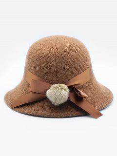 Cute Bowknot Embellished Wool Buckle Hat - Brown