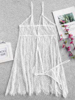Lace Bowknot Cami Front Slit Lingerie Dress - White M