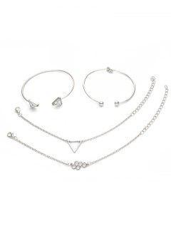 4Pcs Geometric Triangle Design Hollow Bracelets Set - Silver