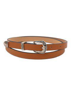 Vintage Carving Buckle Faux Leather Belt - Brown