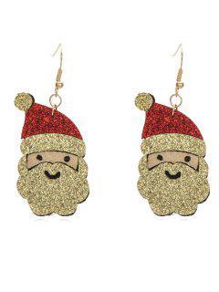 Christmas Santa Claus Pattern Drop Earrings - Multi-a