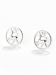 Christmas Deer Printed Hollow Design Stud Earrings - Silver