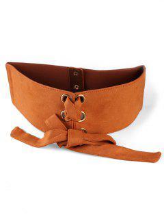 Retro Solid Color High Waist Dress Belt - Camel Brown