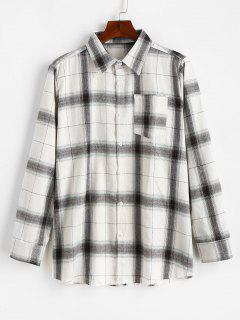Casual Long Sleeves Button Up Plaid Shirt - White M