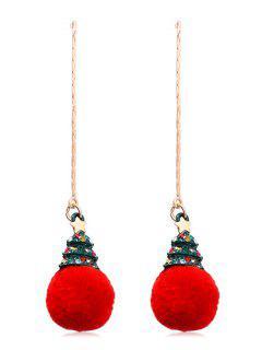 Plush Christmas Tree Ball Design Drop Earrings - Red