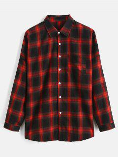 Drop Shoulder Sleeves Checked Casual Shirt - Red Wine S