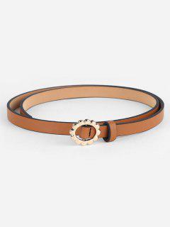 Vintage Alloy Floral Buckle Skinny Belt - Camel Brown