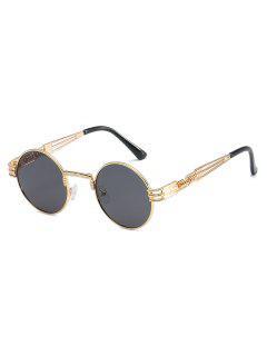 Unique Spring Legs Embellished Round Sunglasses - Black