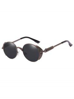 Metal Frame Punk Oval Sunglasses - Deep Brown