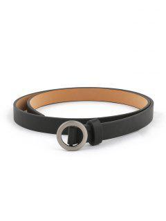 Vintage Silver Round Buckle Embellished Belt - Black