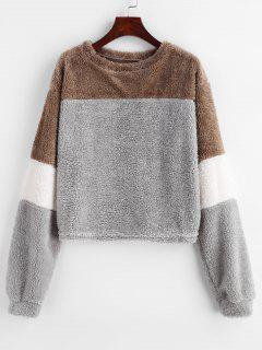 Fluffy Color Block Drop Shoulder Sweatshirt - Battleship Gray Xl