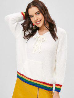 Gestreifter Flauschiger Pullover Mit Schnürung - Milchweiß
