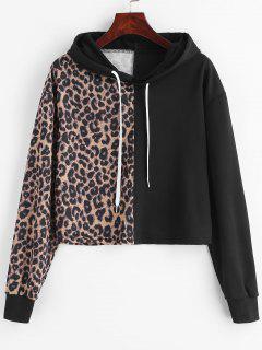 Leopard Drop Shoulder Crop Hoodie - Multi Xl