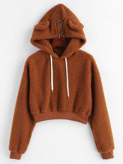 Bear Ear Fluffy Crop Hoodie - Brown L