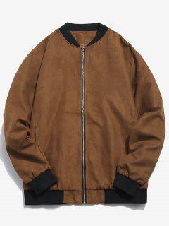 Edge Contrast Suede Bomber Jacket - Brown M