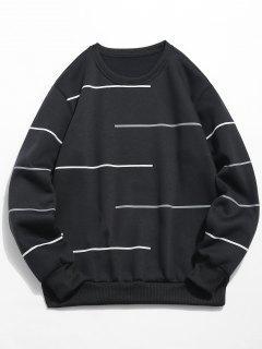Long Sleeves Lines Print Pullover Sweatshirt - Black S