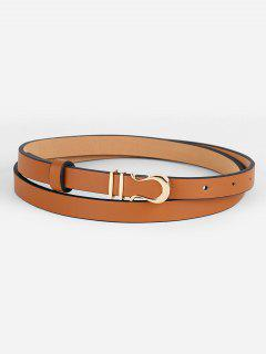Vintage Alloy Buckle Faux Leather Skinny Belt - Camel Brown
