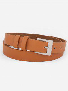 Metal Buckle Artificial Leather Skinny Waist Belt - Camel Brown