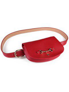 Retro Pin Buckle Fanny Pack Belt Bag - Red