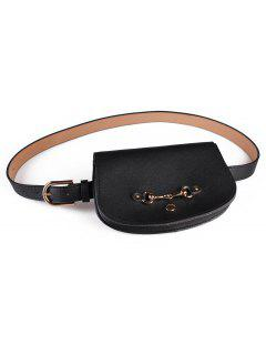Retro Pin Buckle Fanny Pack Belt Bag - Black