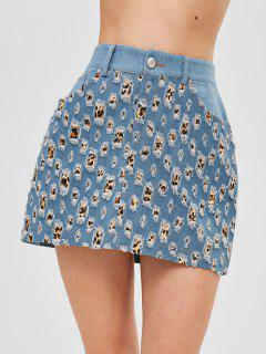Leopard Print Ripped Denim Skirt - Denim Blue M