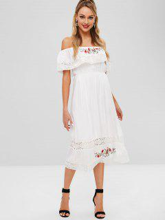 Off Shoulder Crochet Insert Embroidered Dress - White M