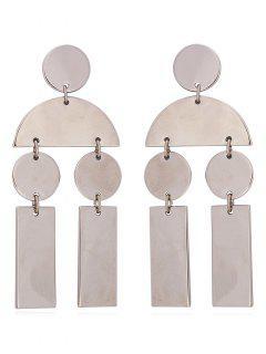 Bohemian Geometric Stud Drop Earrings - Silver